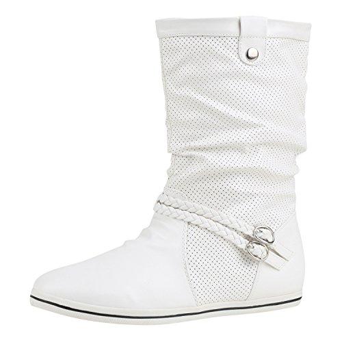 Kostüme Top 2017 (Sportliche Damen Stiefeletten Stiefel Flache Boots High & Low Top Damen STIEFELETTEN Weiss Schnalle)