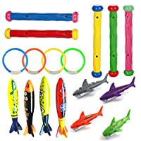 MTOYH E 17 pcs Kids Underwater Swimming Diving Pool Toys Game Kids Diving Sticks Toypedo Bandits Diving Shark Torpedo Diving Pool Toy Rings