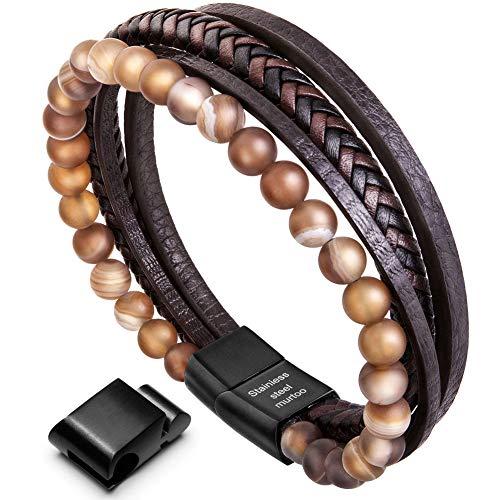 murtoo Armband Herren Leder Armband Naturstein Geflochtenes Armband aus schwarzer Onyx Wunderbar Geschenk Fuer Herren(achat,braun)