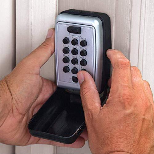 AOLIr Key Lock Box mit 12-stelligem Set Ihre eigene Kombination Wandhalterung Aufbewahrungsbox für Schlüssel mit PPE-Schutzhülle für die Garage zu Hause im Freien Schwarz (Lock-box Für Wandhalterung Schlüssel,)