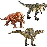 deAO Dinosaurios SET de 3; T-REX, TRICERATOPS, SPINOSAURUS con Diseño Muy Realista