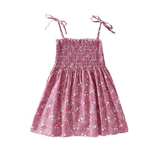 Mädchen Kleid Lila Rose Blume Doppelklicken Krawatte Party Kids Trägerkleid