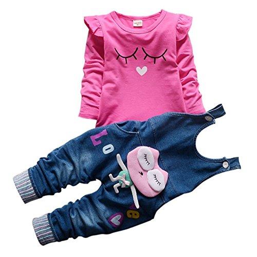 Girl Kostüm Kleinkind 50's - Baby Mädchen Langarm Shirt Overalls Latzhose 2 Stück Prinzessin Neugeborenen Kleinkind Kleidung Set