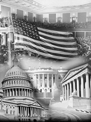 American Flag superimposed on The US Supreme Court and Capitol Building Washington DC USA Poster Drucken (60,96 x 91,44 cm) - Dc Poster Flag