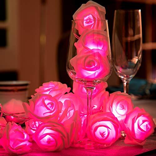 1 String 40 LED Rose Lichterketten Batteriebetriebene Romantische Blume Rose Fairy String Licht Lampe 19.68 ft für Hochzeitszimmer Jubiläum Valentinstag Dekoration (Rosa Licht)