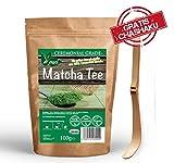 Matcha Tee Set, Matcha-Tee-Pulver, 100 % Hochwertiger Ceremonial Grade, inkl. kostenlosen traditionellem Bambuslöffel zur perfekten Zubereitung, Grüntee-Pulver für Matcha-Latte, Matcha-Smoothies, Matcha-Cookie