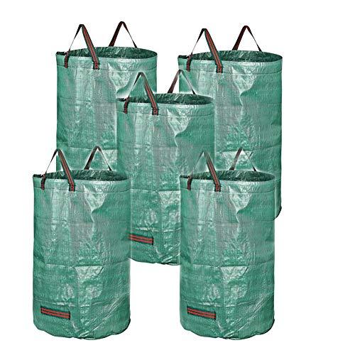 RANRANHONME Ranran Garten Mülltüte, Wiederverwendbare Werft Taschen Gärtnern Rasen Blätter Taschen (5 Packung) (Wiederverwendbare Rasen-taschen)