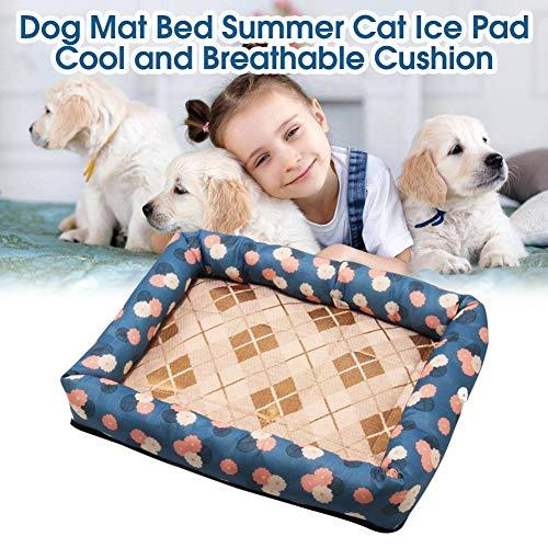 AUTOECHO Kühlmatte für Hunde und Katzen, Eisseide, Oxford-Stoff, Gummi-Etikett, atmungsaktiv, ungiftig, hautfreundlich, hält das Tier kühl 7 cm