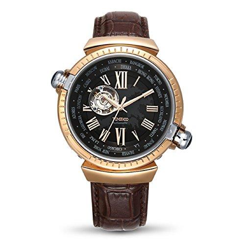 0897bb0774ab Time100 Reloj automático de la Manera de la Correa de Cuero Genuino Auto de  la Cuerda