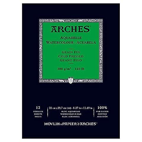 Arches Bloc aquarelle grain fin A4 300 g 12 pages Naturel Blanc