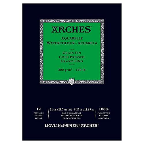 Arches 1795091 Aquarellpapier im Block (A4: 21 x 29,7 cm Kopfgeleimt 300g/m² Feinkorn) 12 Blatt...