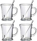 38,5cl Essentials, Set di 4, misura grande, Aroma: tè, caffè Latte Cappuccino in vetro Hot Chocolate Mugs Glasses-Bicchieri per cocktail &-Cucchiaini da caffelatte