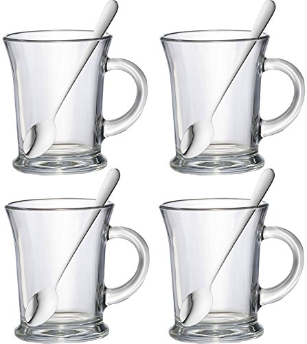 Set Of 4 38.5cl Essentials Aroma Large Clear Glass Tea Coffee Latte Cappuccino Hot Chocolate Drinks Cups Mugs Glasses & Latte Spoons