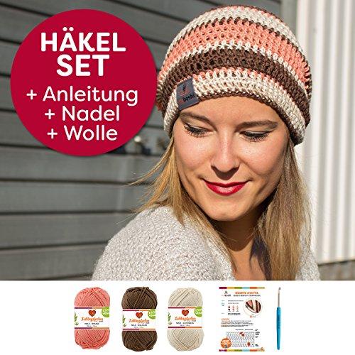myboshi Häkel-Set Beanie Ashiya (15% Kapok, 85% Baumwolle) Anleitung + Häkelnadel + Label + 3x Wolle (walnuss, rouge, elfenbein)