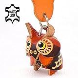 Monkimau Eulen Geschenke Luna - Schlüsselanhänger Figur aus Echtem Leder Fuer Adventskalender in der Kategorie Kuscheltier / Stofftier 2018 glubschi in braun - ca. 4cm klein