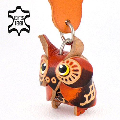 Eulen Geschenke Luna - Schlüsselanhänger Figur aus echtem Leder fuer Adventskalender in der Kategorie Kuscheltier / Stofftier 2018 von Monkimau glubschi in braun - ca. 4cm klein