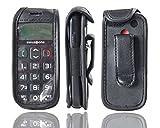 caseroxx Handy-Tasche Ledertasche mit Gürtelclip für Swisstone BBM 320 aus Echtleder, Handyhülle für Gürtel (mit Sichtfenster aus schmutzabweisender Klarsichtfolie in schwarz)