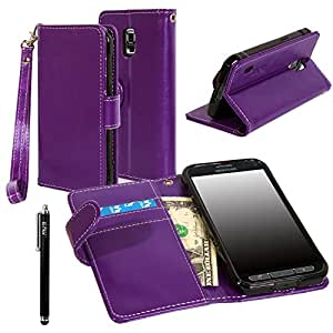 Galaxy S5 ACTIVE Case, Galaxy S5 Active Flip Case - E LV Deluxe PU Leather Folio Wallet Case Cover for Samsung Galaxy S5 Active SM-G870 (Water Resistant Model) - Purple