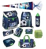 Fußball Schulranzen Set 10tlg. Sporttasche, Schultüte 85cm, Federmappe, Regen/Sicherheitshülle gelb Scooli FCPR8252