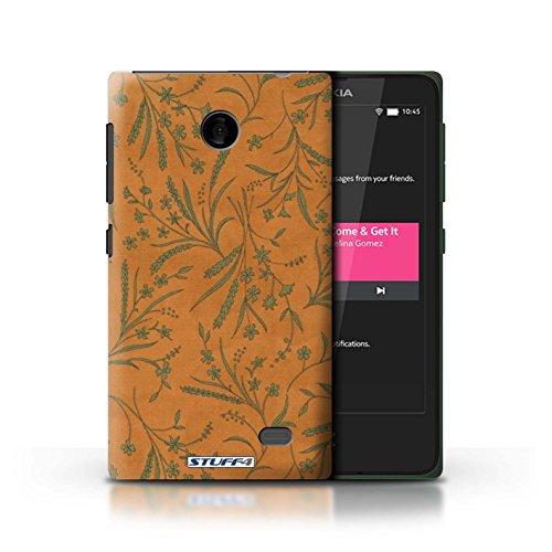 Kobalt® Imprimé Etui / Coque pour Nokia X / Gris conception / Série Motif floral blé Orange/Vert