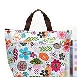 EQLEF® Portable bunte Blumen Muster Lunchbox Bag Lunch Tote gefütterte Tasche tragen