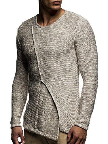 LEIF NELSON Herren Pullover Strickpullover Hoodie Basic Rundhals Crew Neck Sweatshirt langarm Sweater Feinstrick LN20710 Beige
