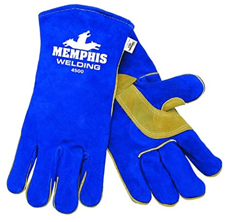 MCR Safety 4500XXL 13-Inch Memphis Split Cow Leather Welder Men's Gloves with Self Hemmed Cuff, Blue, 2X-Large, 1-Pair by MCR Safety
