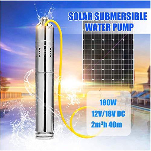 SISHUINIANHUA DC12V / 18V 180W Maximaler Kopf 40m Tauchschraube Solarbetriebene Pumpe Bürstenlose Bohrung Tiefbrunnenpumpe Für Fischteich und Ranch -