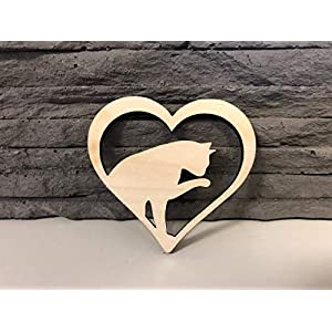 10 Stück Katze mit Herz Sperrholz 4mm