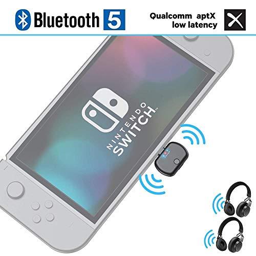 Bluetooth Audio für Nintendo Switch, ViSun BT26 Dual Link Wireless Bluetooth 5.0 APTX Low Latency USB Type-C Stereo A2DP Musik Transmitter Adapter, Plug & Play, für PC PS4 Bose Sony Gaming Kopfhörer