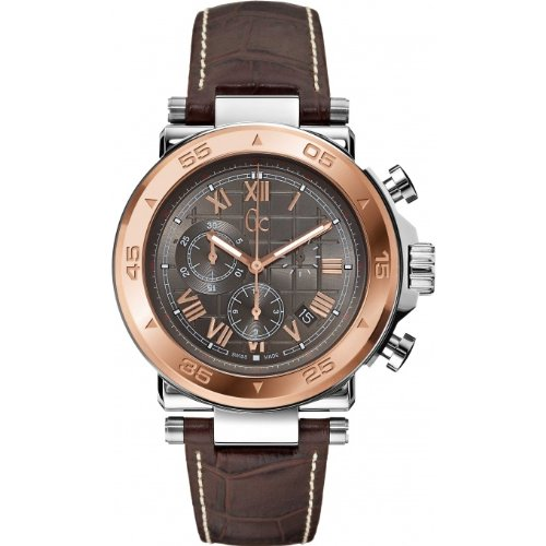 GUESS COLLECTION X90005G2S GENTS BROWN CALFSKIN 44MM STAINLESS STEEL CASE WATCH