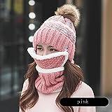 HAIPENG-sanjiantao HAIPENG Weiblich Hut Schal Mund Maske Winter Damen Stricken 5 Farben, 56-58CM Kleidung Accessoires schöne Mädchen weich warm dic ( Farbe : Pink )