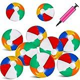 meekoo 10 Pièces 17,5 Pouces Ballons de Plage Colorés Ballons de Plage Gonflables Arc-en-Ballons avec Mini Pompe pour Summer Beach Piscine Jouets Faveurs du Fête