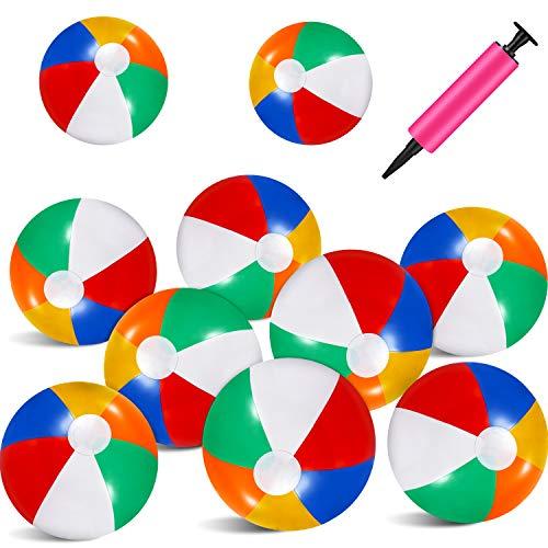 ,5 Zoll Bunte Strand Ball Regenbogen Aufblasbar Wasserbälle mit Mini Pumpe für Sommer Strand Schwimmbad Spielzeug Party Gefälligkeiten ()