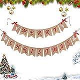 E·Durable Banner Feliz Navidad decoración con Copos de Nieve Arco de Reno moños Navidad guirnaldas Signo de arpillera para Vacaciones Navidad casa decoración Mantel Chimenea Colgante decoración