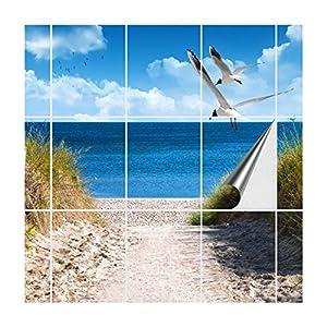 FoLIESEN Fliesenaufkleber für Bad und Küche | Fliesenposter Ostseeküste | Fliesengröße 20x25 cm (LxB) | Fliesenbild 15 tlg. - 100x75 cm (LxB)