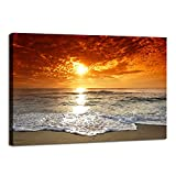 Visario Leinwandbilder 4038 Bild auf Leinwand Beach, 80 x 60 cm