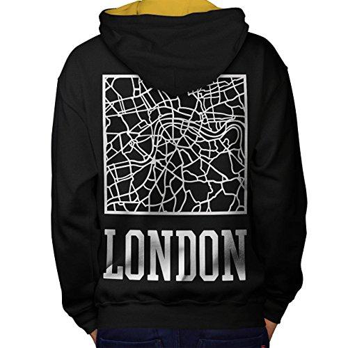 London Stadt Karte Mode Stadt Karte Men M Kontrast Kapuzenpullover Zurück | (Link Karte Kostüm)