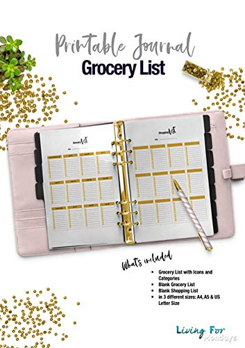 Printable Planner Grocery List Gold for your Planner or Journal ...