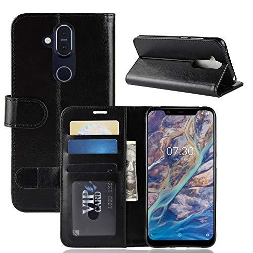 Nokia 8.1 Hülle, Nokia 8.1 Cover, AVIDET PU Leder Handyhülle Wallet Case Flip Schutzhülle mit Magnet Kartenfächer Standfunktion für Nokia 8.1 (Schwarz)