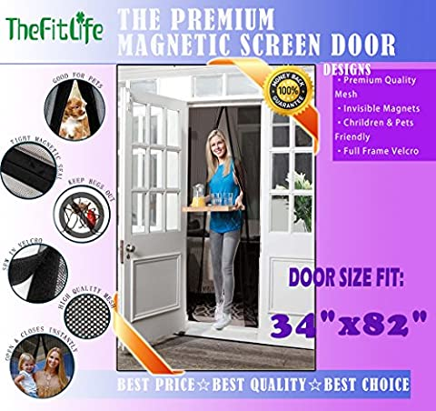 TheFitLife Magnetic Screen Door - Heavy Duty Mesh Curtain with Full Frame Velcro and Powerful Magnets that Snap Shut Automatically (36''x83'' - Fits doors up to 34''x82''
