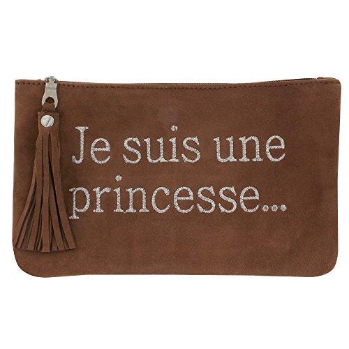 Borsa in Pelle Ricamato Je suis une Princesse Verde Brown