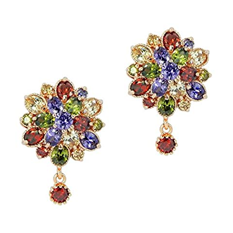 Rosette IMPERIALE - Genuine 18ct Rose Gold Finished Swarovski Elements Multi Coloured Crystals Luxury Studded Earrings