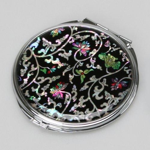 Miroir Compact Double en nacre Miroir pour maquillage pour maquillage ou cosmétiques miroir de sac ou sac avec motif fleurs en fantaisies