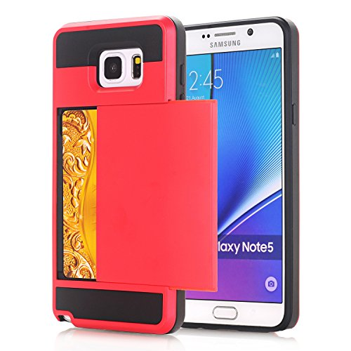 Galaxy Note4 Coque,EVERGREENBUYING [Slider Series] Ultra Slim léger 2 en 1 N9100 Cases [Porte coulissante semi-automatique][Housse de Protection] [Fente pour Carte] Cover Pour Samsung GALAXY Note 4 Ro Rouge