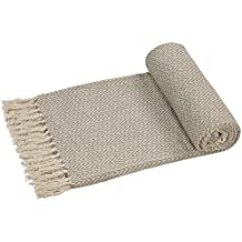 EHC–tejida a mano Reversible Individual Manta para sofá sillón, 125x 150cm, color beige