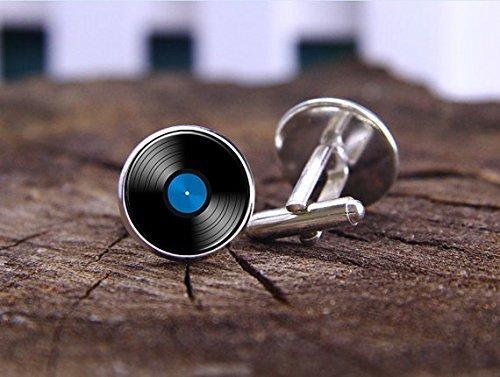 boutons-de-manchette-disques-vinyles-gramophone-enregistrement-boutons-de-manchette-pince-a-cravate-
