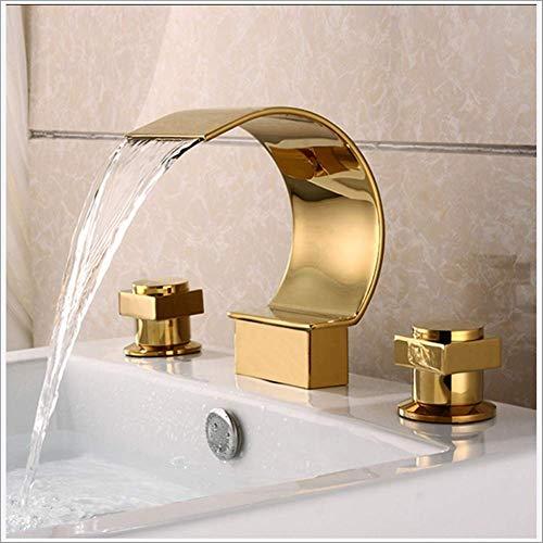 FEIFEIA Europäischen Stil Badewanne Wasserhahn, vergoldete Wanneneinlauf, verbreitet Wasserfall Wannenarmatur, massivem Messing, 2 Griffe, Chrom poliert, Gold