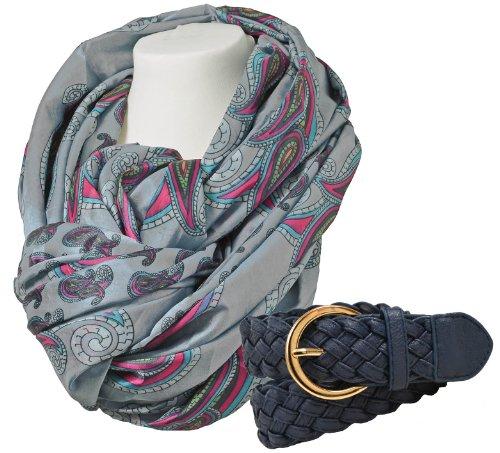 Produktbild Modisches Set Halstuch Damenschal Modell WIEN hellgrau Print Schal im Set mit Flechtgürtel