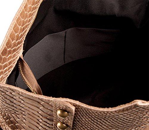 PELLE ITALY Leder Henkeltasche Snake Prägung PI10089 Damen Handtasche Leder 36x30x12 cm (BxHxT), Farbe:Cognac Taupe